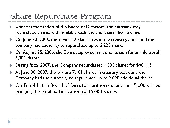 Share Repurchase Program Under authorization of the Board of Directors, the company may repurchase