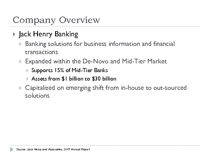 Company Overview Jack Henry Banking solutions for business information and financial transactions Expanded within