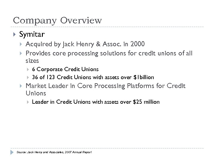 Company Overview Symitar Acquired by Jack Henry & Assoc. in 2000 Provides core processing