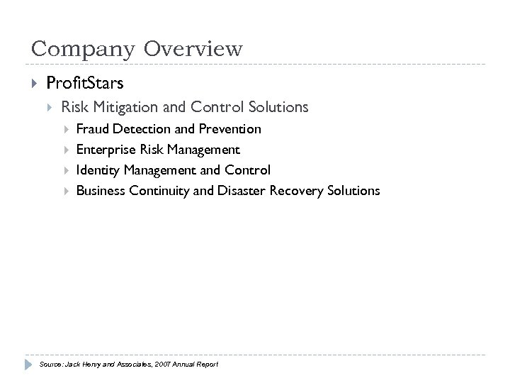 Company Overview Profit. Stars Risk Mitigation and Control Solutions Fraud Detection and Prevention Enterprise