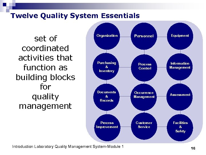 Twelve Quality System Essentials set of coordinated activities that function as building blocks for