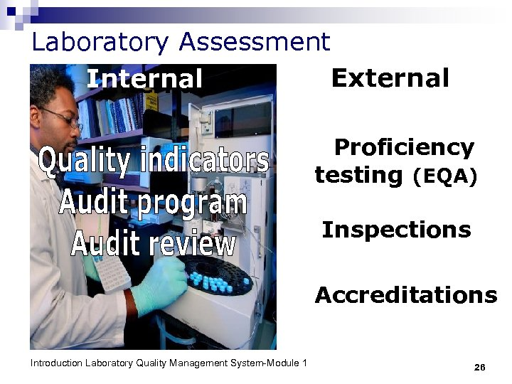 Laboratory Assessment External Internal Proficiency testing (EQA) Inspections Accreditations Introduction Laboratory Quality Management System-Module
