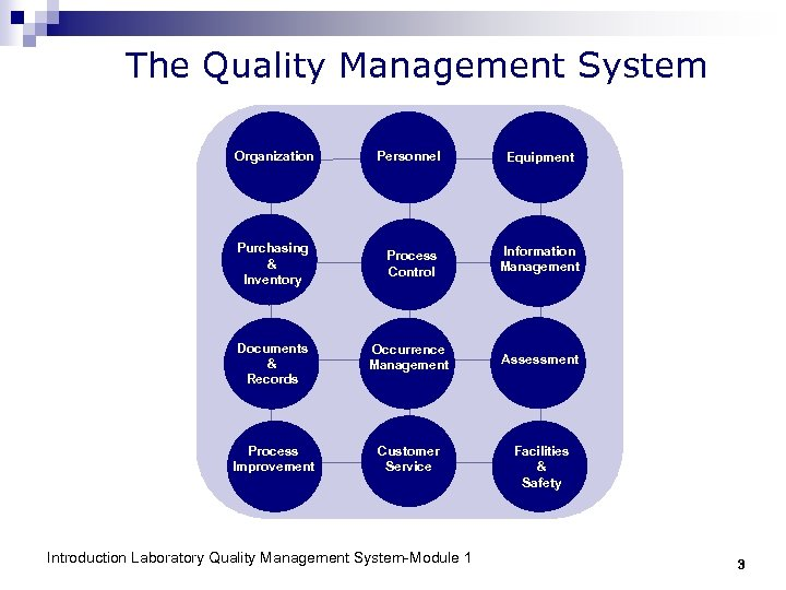 The Quality Management System Organization Personnel Equipment Purchasing & Inventory Process Control Information Management