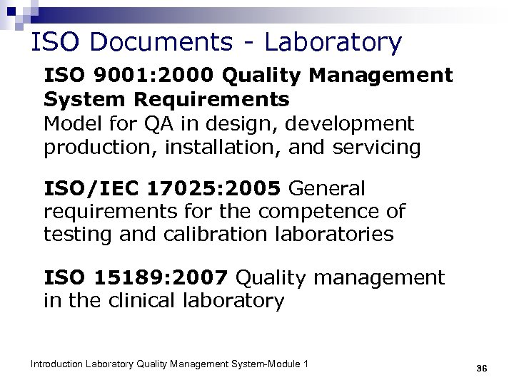 ISO Documents - Laboratory ISO 9001: 2000 Quality Management System Requirements Model for QA
