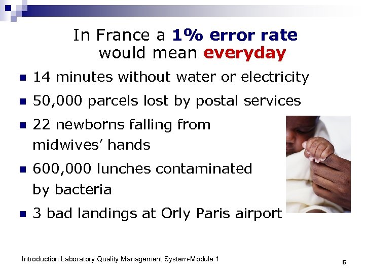 In France a 1% error rate would mean everyday n 14 minutes without water
