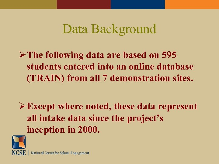 Data Background The following data are based on 595 students entered into an online