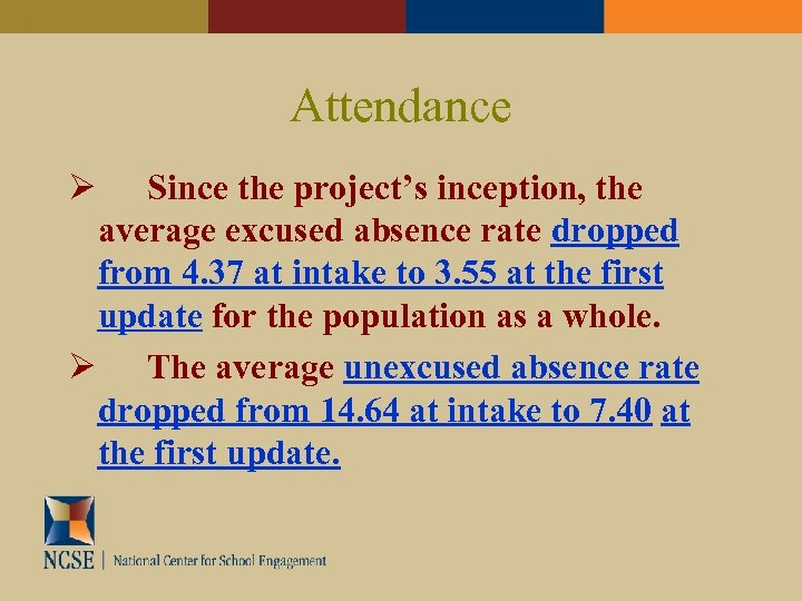 Attendance Since the project's inception, the average excused absence rate dropped from 4. 37