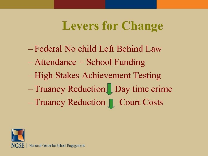 Levers for Change – Federal No child Left Behind Law – Attendance = School
