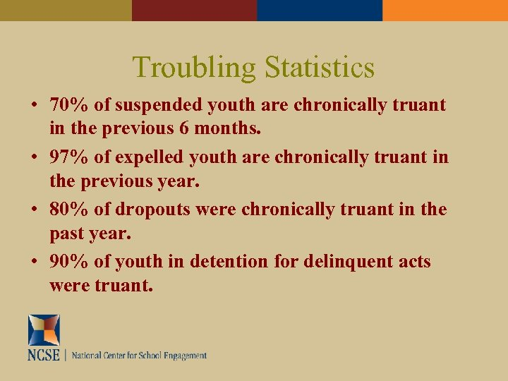 Troubling Statistics • 70% of suspended youth are chronically truant in the previous 6