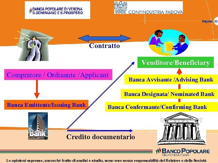 Pagina 21 Contratto Venditore/Beneficiary Compratore / Ordinante /Applicant Banca Avvisante /Advising Bank Banca Designata/