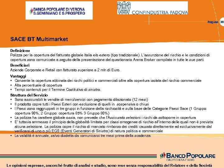 Pagina 38 SACE BT Multimarket Definizione Polizza per la copertura del fatturato globale Italia