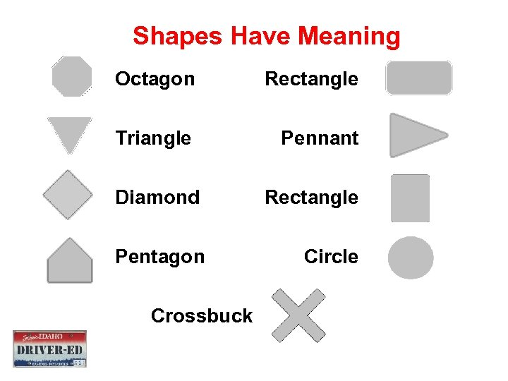 Shapes Have Meaning Octagon Rectangle Triangle Pennant Diamond Rectangle Pentagon Circle Crossbuck