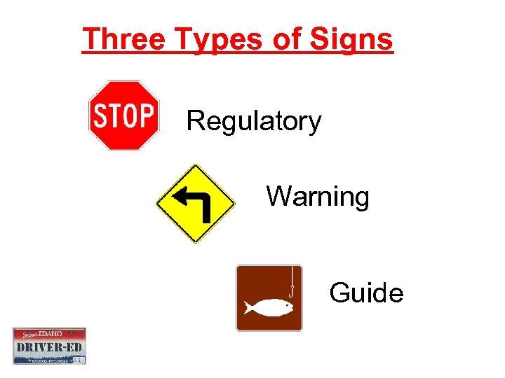 Three Types of Signs Regulatory Warning Guide