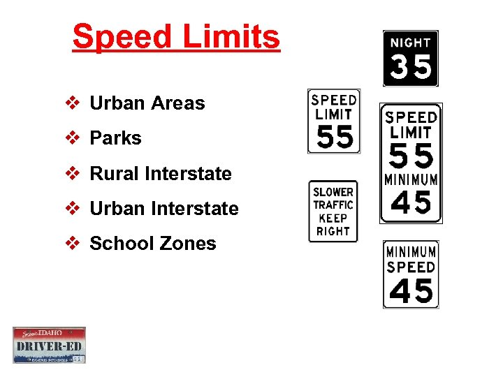 Speed Limits v Urban Areas v Parks v Rural Interstate v Urban Interstate v