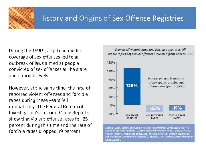 History and Origins of Sex Offense Registries During the 1990 s, a spike in