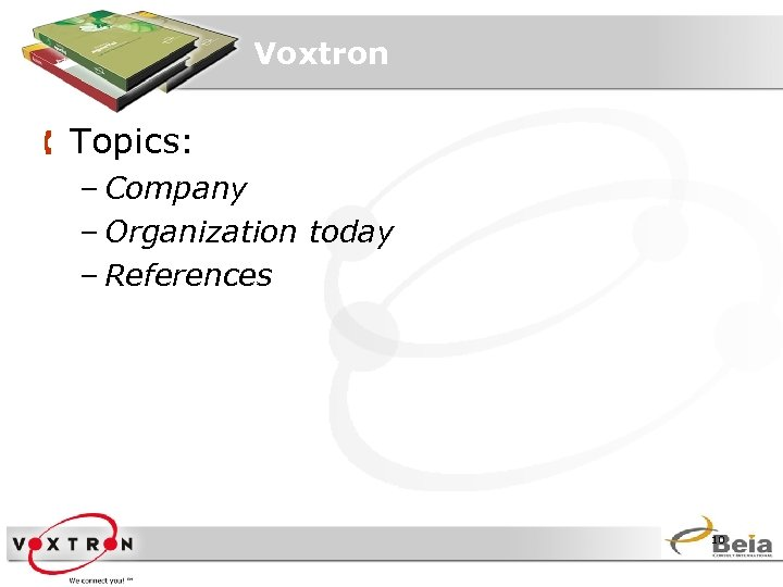 Voxtron Å Topics: – Company – Organization today – References 10