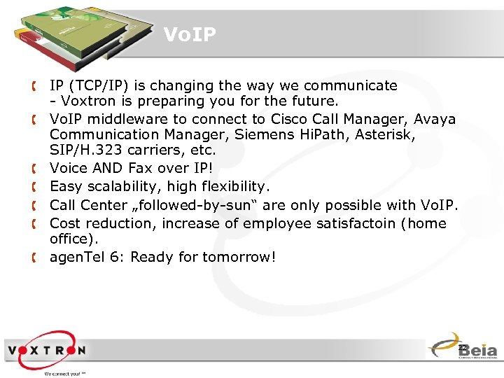 Vo. IP Å IP (TCP/IP) is changing the way we communicate - Voxtron is