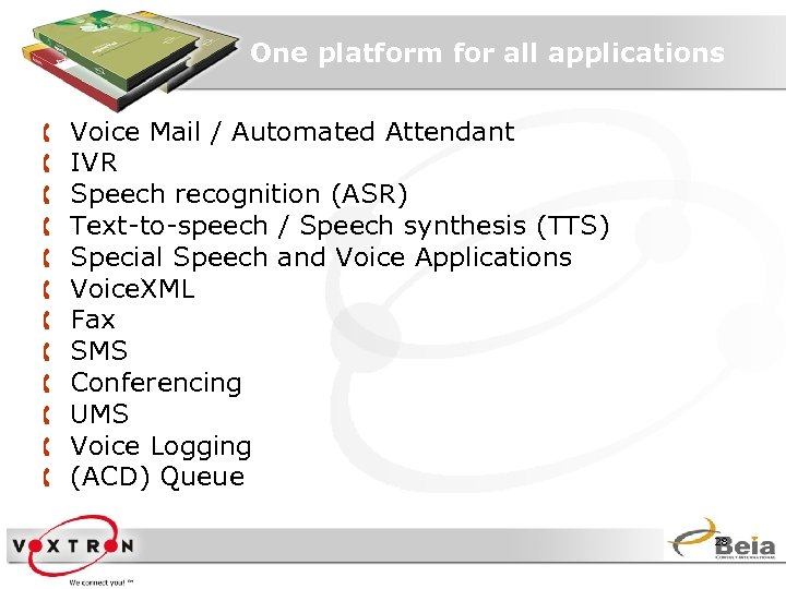 One platform for all applications Å Å Å Voice Mail / Automated Attendant IVR