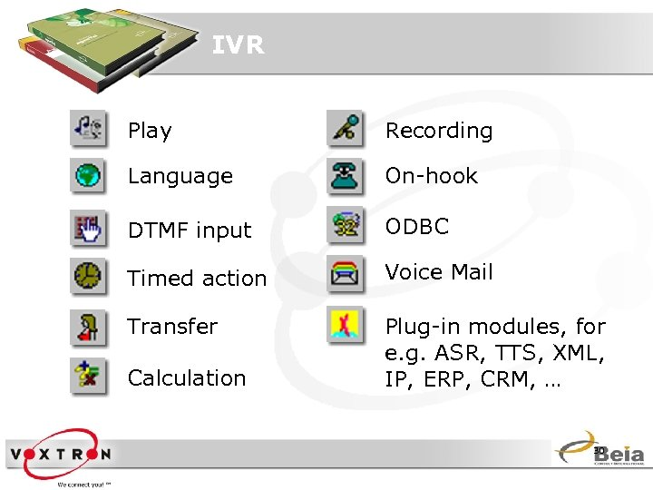 IVR Play Recording Language On-hook DTMF input ODBC Timed action Voice Mail Transfer Plug-in