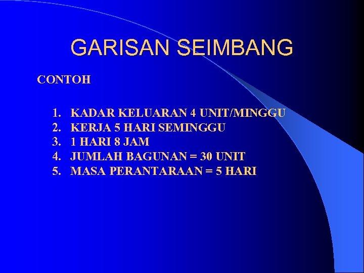 GARISAN SEIMBANG CONTOH 1. 2. 3. 4. 5. KADAR KELUARAN 4 UNIT/MINGGU KERJA 5