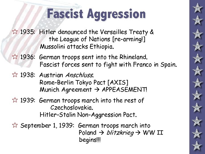 Fascist Aggression 5 1935: Hitler denounced the Versailles Treaty & the League of Nations