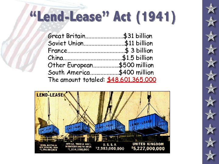"""Lend-Lease"" Act (1941) Great Britain. . . $31 billion Soviet Union. . . ."