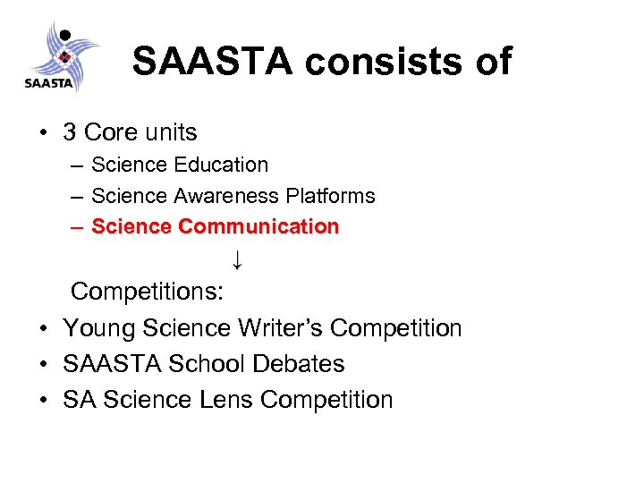 SAASTA consists of • 3 Core units – Science Education – Science Awareness Platforms