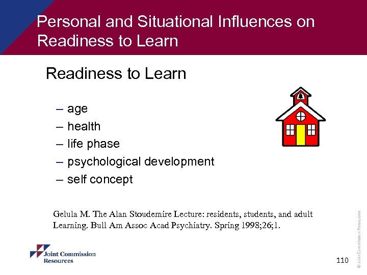 Personal and Situational Influences on Readiness to Learn age health life phase psychological development
