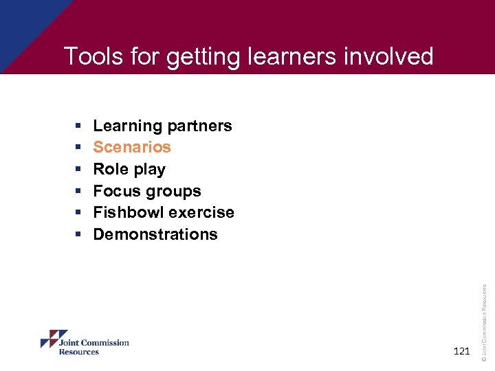 Tools for getting learners involved Learning partners Scenarios Role play Focus groups Fishbowl exercise