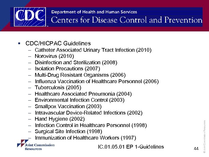 – – – – Catheter Associated Urinary Tract Infection (2010) Norovirus (2010) Disinfection and