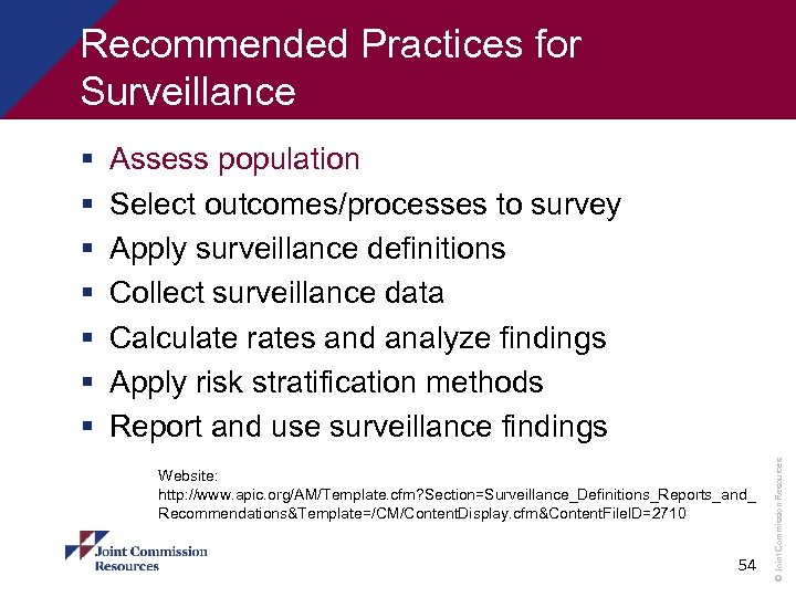 Recommended Practices for Surveillance Assess population Select outcomes/processes to survey Apply surveillance definitions Collect