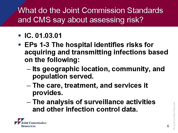 § IC. 01. 03. 01 § EPs 1 -3 The hospital identifies risks for