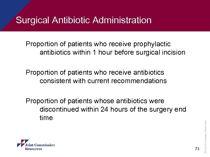 Surgical Antibiotic Administration Proportion of patients who receive prophylactic antibiotics within 1 hour before
