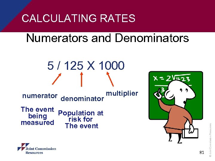 CALCULATING RATES Numerators and Denominators 5 / 125 X 1000 The event Population at