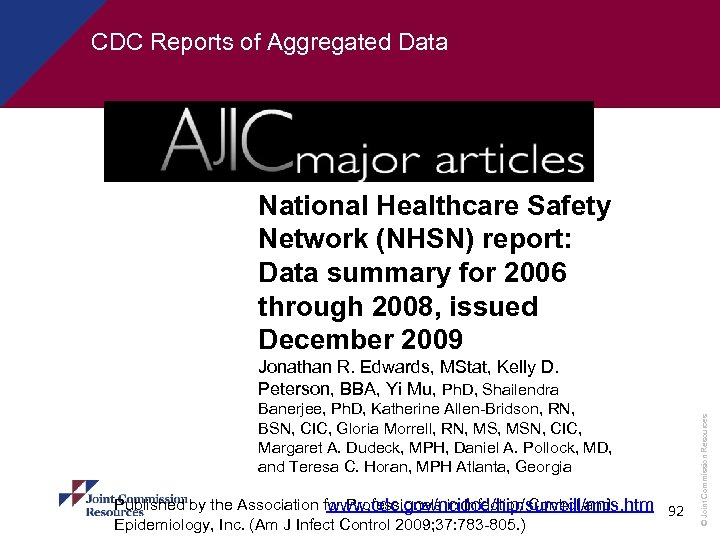 CDC Reports of Aggregated Data National Healthcare Safety Network (NHSN) report: Data summary for