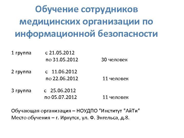 Обучение сотрудников медицинских организации по информационной безопасности 1 группа с 21. 05. 2012 по