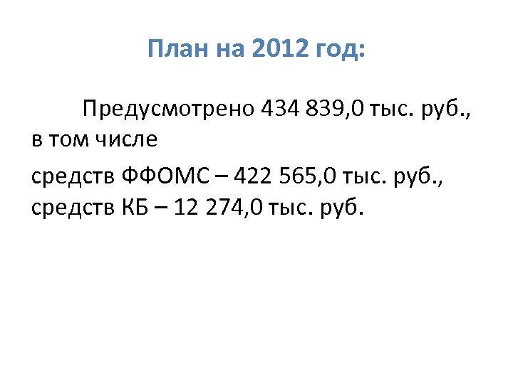 План на 2012 год: Предусмотрено 434 839, 0 тыс. руб. , в том числе