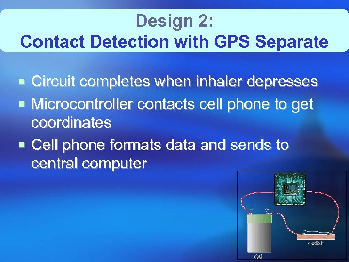 Design 2: Contact Detection with GPS Separate ¡ Circuit completes when inhaler depresses ¡
