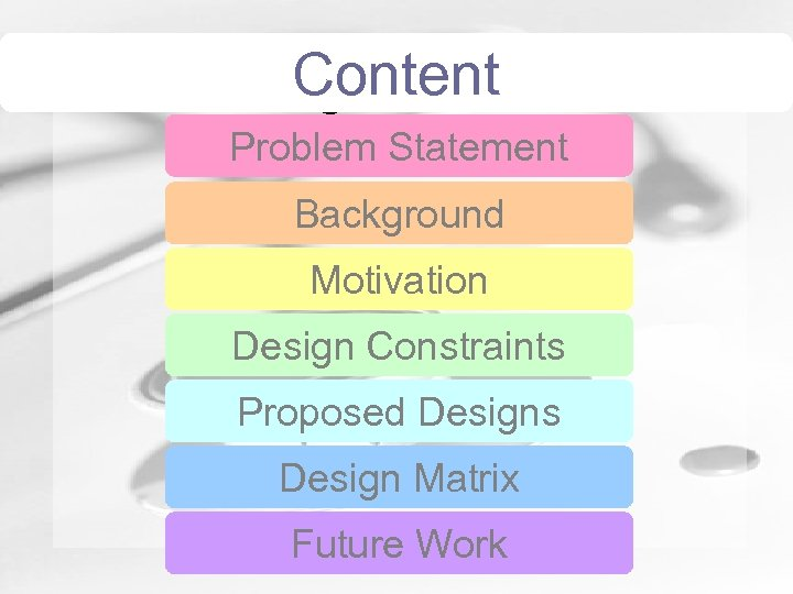 Contents Content Humongous Insurance Problem Statement Background Motivation Design Constraints Proposed Designs Design Matrix