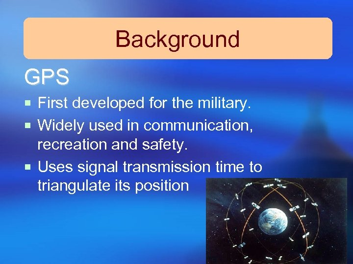Background GPS ¡ First developed for the military. ¡ Widely used in communication, recreation