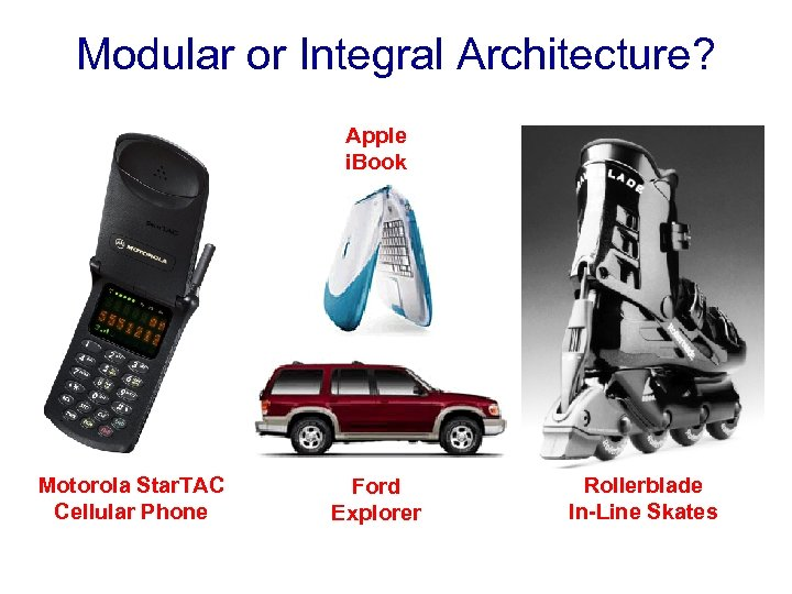 Modular or Integral Architecture? Apple i. Book Motorola Star. TAC Cellular Phone Ford Explorer