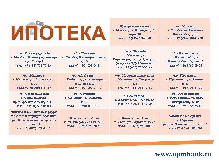 Центральный офис г. Москва, ул. Правды, д. 23, корп. 10 тел. : +7 (495)