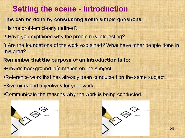 Setting the scene - Introduction This can be done by considering some simple questions.