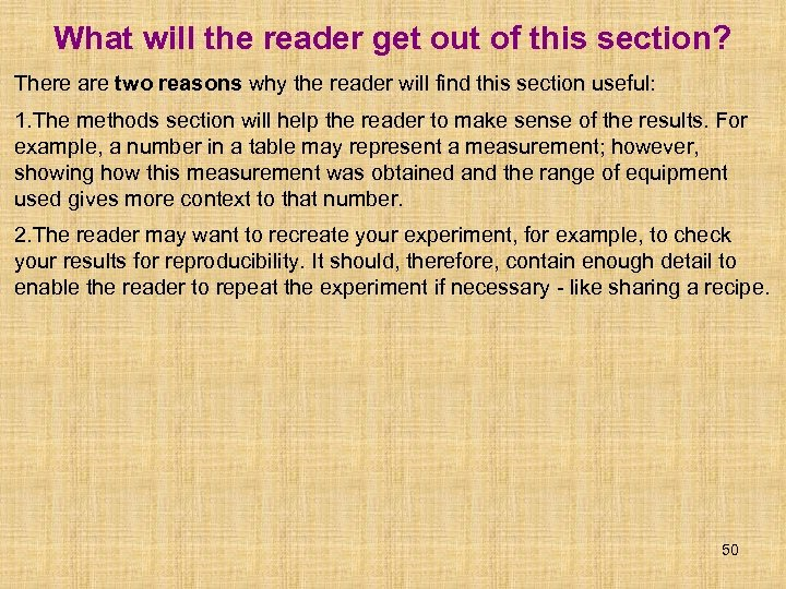 What will the reader get out of this section? There are two reasons why