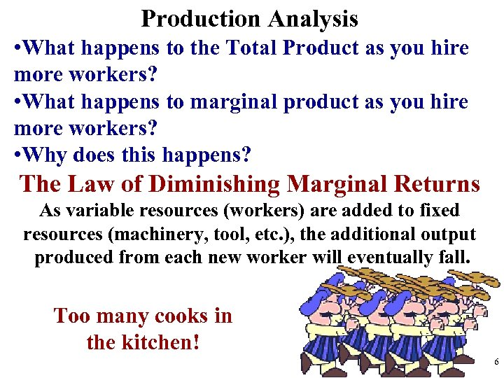 Production Analysis • What happens to the Total Product as you hire more workers?