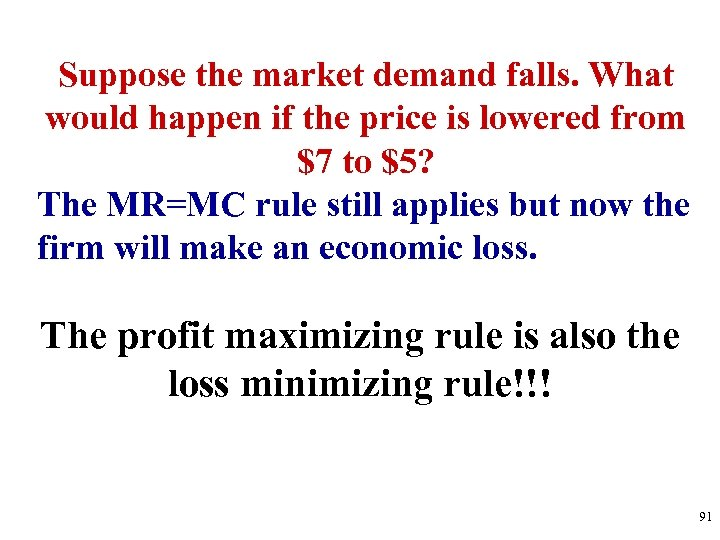 Suppose the market demand falls. What would happen if the price is lowered from