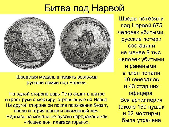 Битва под Нарвой Шведская медаль в память разгрома русской армии под Нарвой. На одной