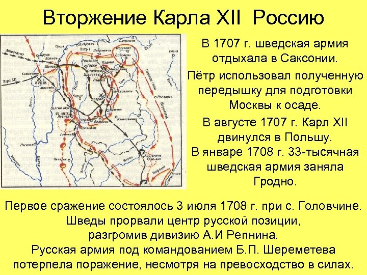 Вторжение Карла XII Россию В 1707 г. шведская армия отдыхала в Саксонии. Пётр использовал