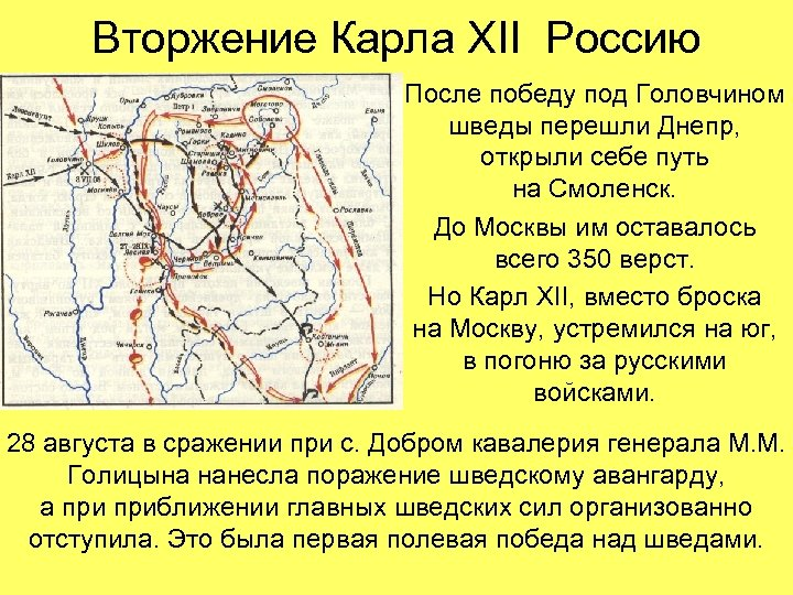 Вторжение Карла XII Россию После победу под Головчином шведы перешли Днепр, открыли себе путь