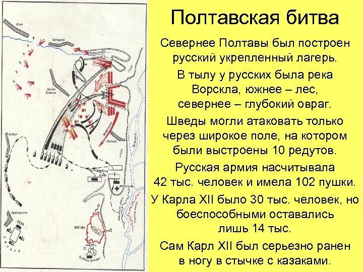Полтавская битва Севернее Полтавы был построен русский укрепленный лагерь. В тылу у русских была